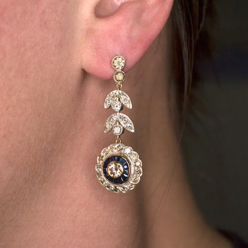 007a01338 VINTAGE 4.2ct DIAMOND SAPPHIRE HALO FLORAL LONG DROP DANGLE EARRINGS  ANTIQUE 4CT - Ivy & Rose Fine Jewelry