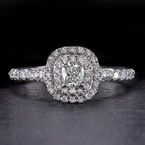 2a5ce6db7d16f7 TIFFANY & CO W/CERT SOLESTE CUSHION DIAMOND DOUBLE HALO ENGAGEMENT RING  PLATINUM - Ivy & Rose Fine Jewelry