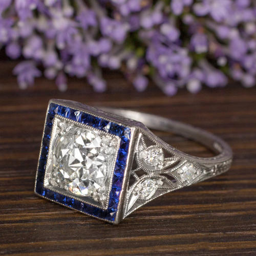 0790d8133 ART DECO 1.5ct OLD CUT DIAMOND SAPPHIRE PLATINUM VINTAGE ENGAGEMENT RING  ANTIQUE - Ivy & Rose Fine Jewelry