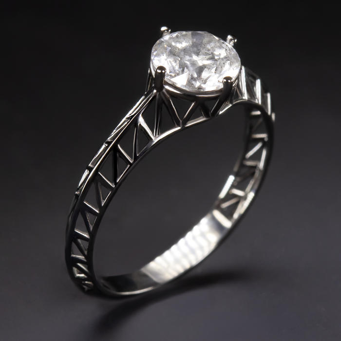 1 07ct Natural Diamond Engagement Ring 14k Black Gold Geometric