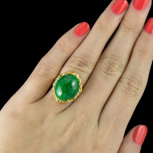 0247c348fd321 IDEAL CUT G VS DIAMOND 15 CARAT NATURAL JADEITE JADE VINTAGE COCKTAIL RING  GOLD