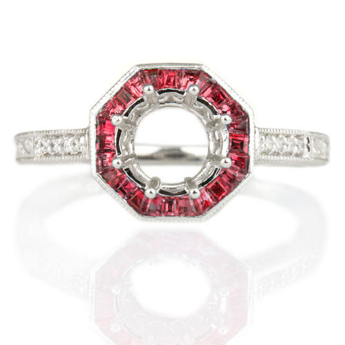 5ccae7c057031 VINTAGE RED RUBY HALO DIAMOND SEMI-MOUNT ENGAGEMENT RING ROUND SETTING 14K  WG