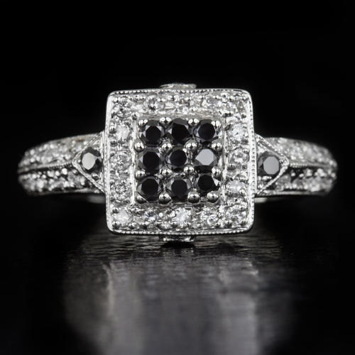 3a21f95891f9f BLACK WHITE NATURAL DIAMOND G SI SQUARE HALO COCKTAIL RING 5.4 GM 14K WHITE  GOLD