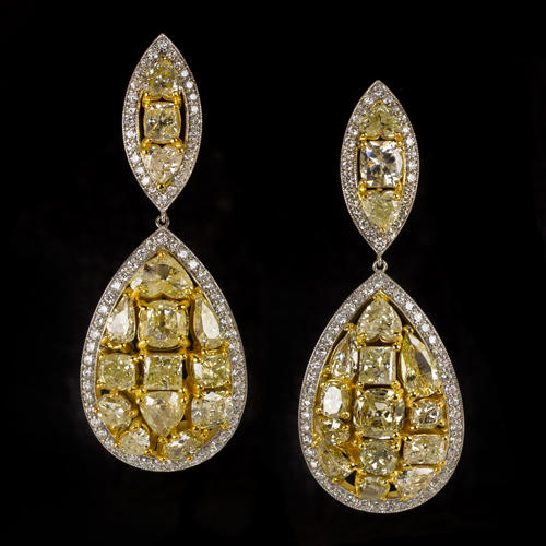 ee44f4270 10.5ct NATURAL FANCY YELLOW DIAMOND EARRINGS LARGE DANGLE PEARS 18 GRAM GOLD  BIG - Ivy & Rose Fine Jewelry