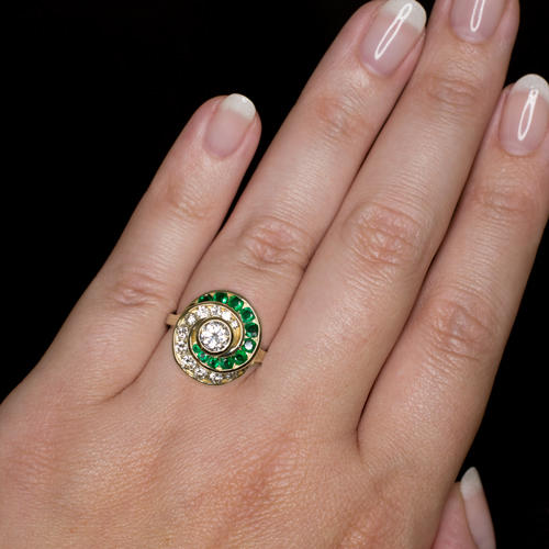 2bf3c623a8a4 EX CUT VINTAGE 1 CARAT DIAMOND 1 2CT NATURAL EMERALD HALO SWIRL COCKTAIL  RING - Ivy   Rose Fine Jewelry