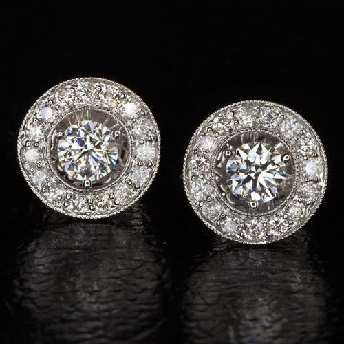 d404bc738 2.30c NATURAL DIAMONDS BIG STUDS 13mm HALO EARRINGS WHITE GOLD VINTAGE 2CT  2.5CT - Ivy & Rose Fine Jewelry