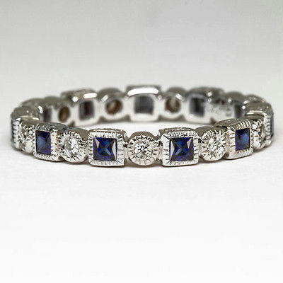 1a4f00376ed BLUE SAPPHIRE 0.6ct BAND DIAMOND VINTAGE RING ETERNITY BAGUETTE WEDDING  COCKTAIL - Ivy   Rose Fine Jewelry