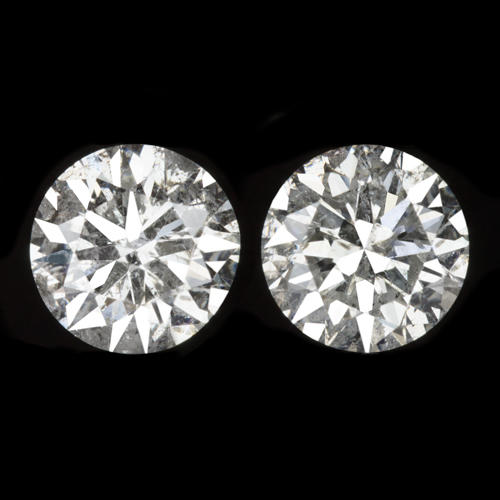 2573cbc1e 2.5 CARAT VERY GOOD EX CUT NATURAL ROUND DIAMOND STUD EARRINGS 2.5ct  UNTREATED - Ivy & Rose Fine Jewelry