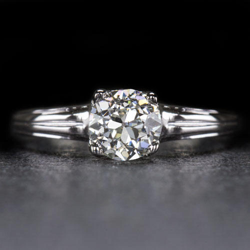 17386744f22 VINTAGE OLD EUROPEAN CUT DIAMOND 1/2ct SOLITAIRE ENGAGEMENT RING 18K WHITE  GOLD