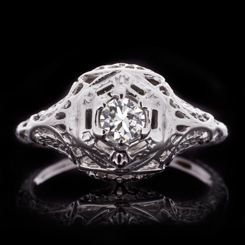 cf077c7889 ART DECO F VS OLD EUROPEAN CUT DIAMOND ENGAGEMENT RING VINTAGE FILIGREE  ENGRAVED - Ivy & Rose Fine Jewelry