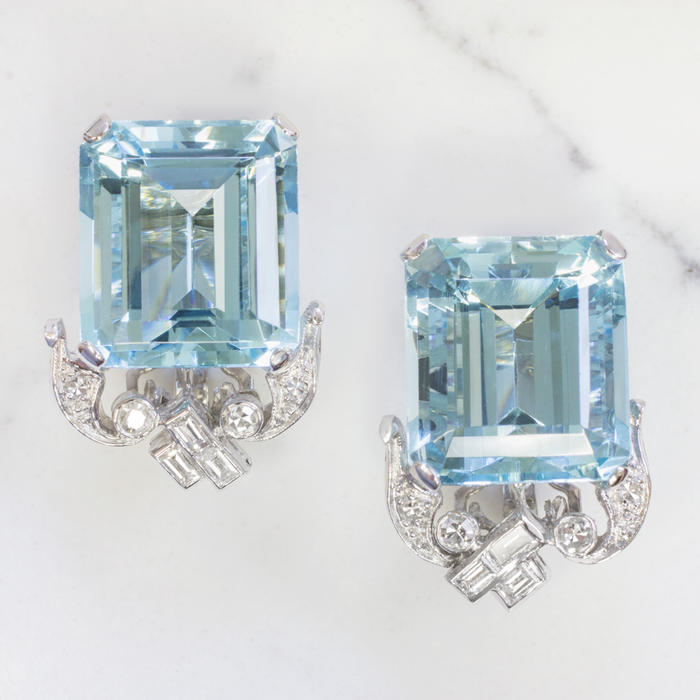 cc232b02975d2 30CT RICH BLUE AQUAMARINE G VS DIAMOND VINTAGE EARRINGS BIG EMERALD CUT ART  DECO