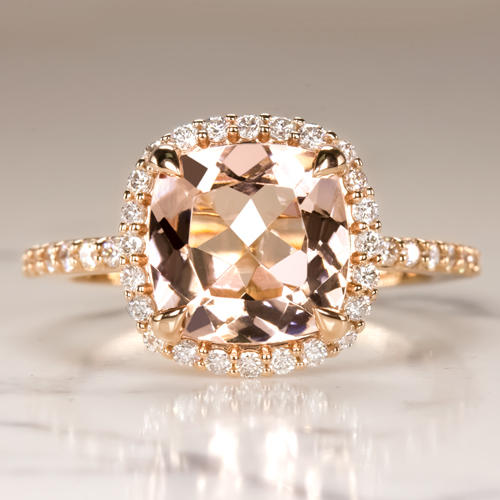 2 6ct Peach Morganite 53ct Diamond Cushion Halo Engagement Ring Rose Gold Pave