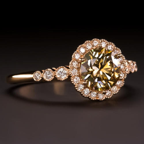 566509c016946 1CT IDEAL CUT CHAMPAGNE DIAMOND HALO ENGAGEMENT RING VINTAGE ROSE GOLD  COCKTAIL