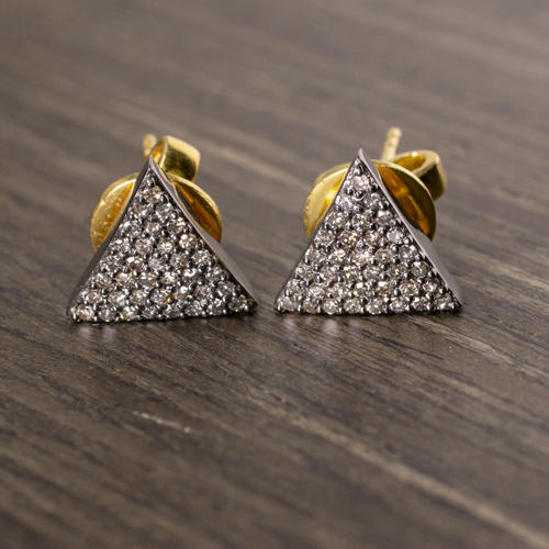 d7368c38 NATURAL DIAMONDS PAVE TRIANGLE STUD EARRINGS GEOMETRIC TRILLION 10mm MODERN  DARK