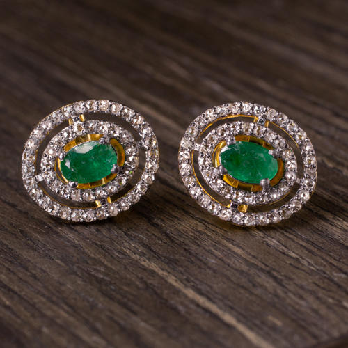 9a1bceb886485 NATURAL DIAMOND EMERALD EARRINGS OVAL DOUBLE HALO STUDS PAVE GREEN BIG  JEWELRY