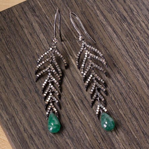 d8f2f2c12 1.5CT NATURAL DIAMOND 4.5CT EMERALD DANGLE EARRINGS BOHO FEATHER LEAF BLACK  DROP - Ivy & Rose Fine Jewelry