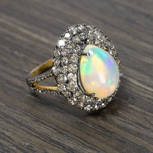 971fca5e49345 4ct NATURAL OPAL 2ct DIAMOND COCKTAIL RING PAVE DOME 3 ROW CLUSTER  STATEMENT BIG
