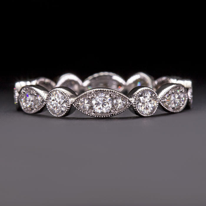 585463f5e7f21 EXCELLENT CUT 1.22c DIAMOND ETERNITY BAND G VS2 VINTAGE STYLE WEDDING RING  STACK