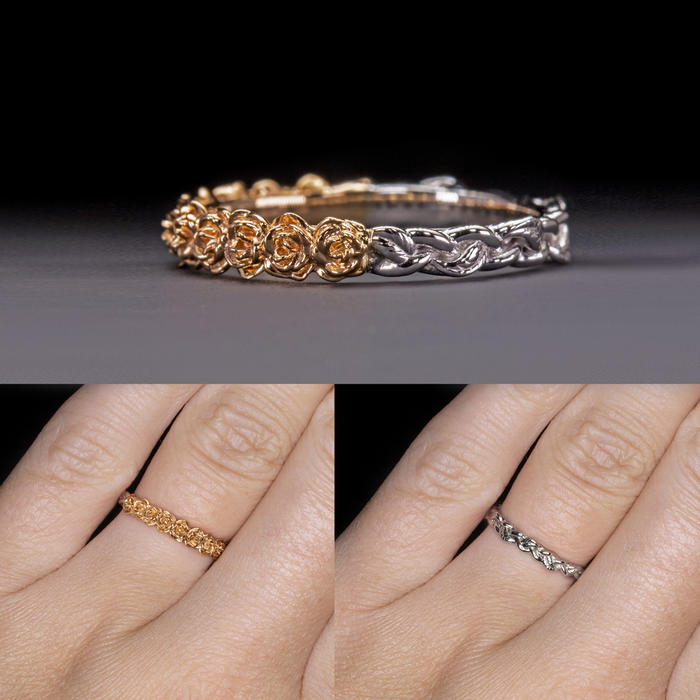 8f7e6512ae06c FLORAL WEDDING BAND STACKING RING TWO TONE 14K WHITE ROSE GOLD IVY LEAF  ORGANIC