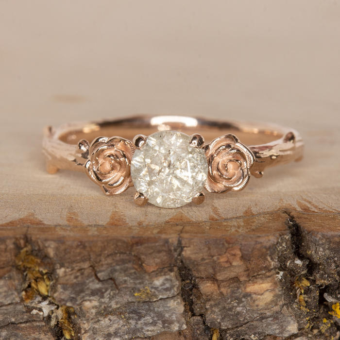 a5ef61ad5071f FLORAL .75ct ROUND CUT NATURAL DIAMOND ENGAGEMENT RING RUSTIC ROSE GOLD  BRANCH