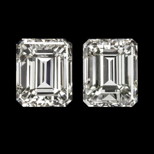 6c83c8203 0.86ctw I VS1 EMERALD CUT DIAMOND MATCHING PAIR STUD EARRINGS BAGUETTE  ACCENTS - Ivy & Rose Fine Jewelry