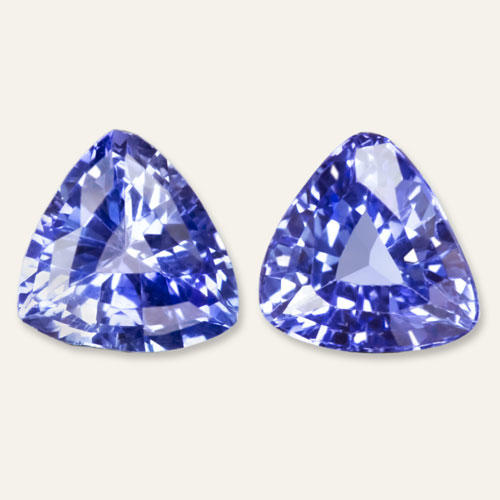 c32d0bbfd83e2 2.2ct CEYLON SAPPHIRE PAIR TRILLION CUT STUDS TRIANGLE SHAPE DROP EARRINGS  BLUE
