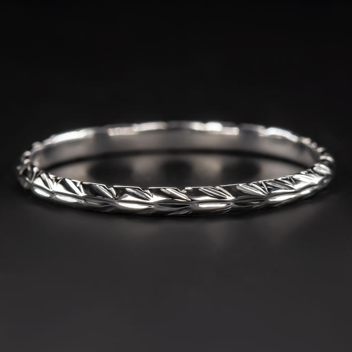 Vintage Wedding Band.White Gold Vintage Wedding Band Ring Carved Engraved Antique Thin Deco Classic