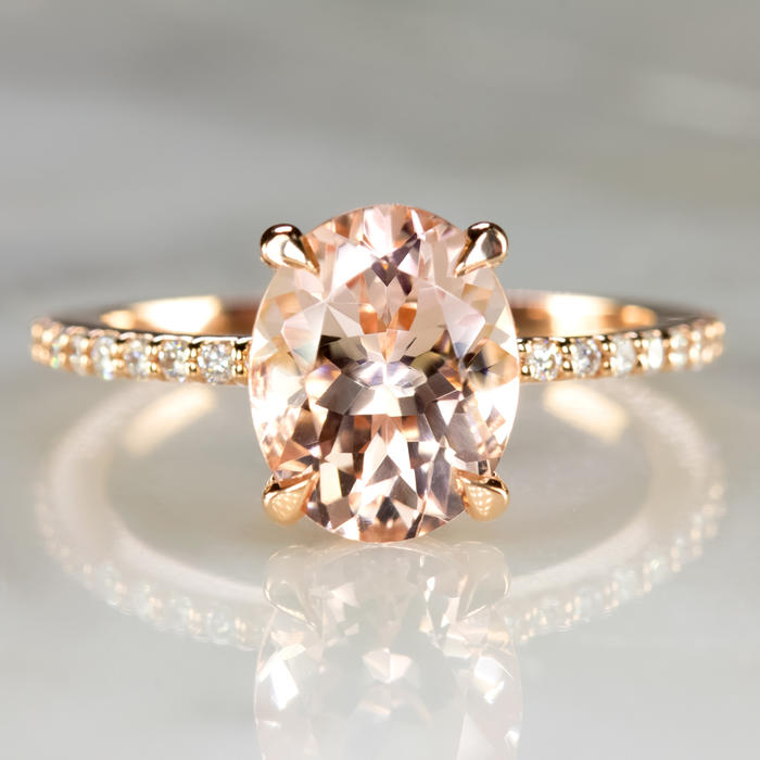 63b1c7a770e01 2.3c MORGANITE ENGAGEMENT RING DIAMOND PAVE BAND OVAL CUT ROSE GOLD PINK  CLASSIC