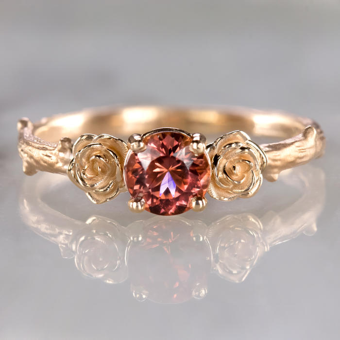 259a3bbe35dc6 FLORAL RED TOURMALINE 14K ROSE GOLD RING BRANCH FLOWER RUSTIC ORGANIC  RUBELLITE