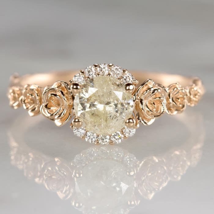 9914ddfd0ca7a NATURAL DIAMOND 3/4 CARAT ENGAGEMENT RING FLORAL RUSTIC ROSE GOLD ROUND  FLOWER
