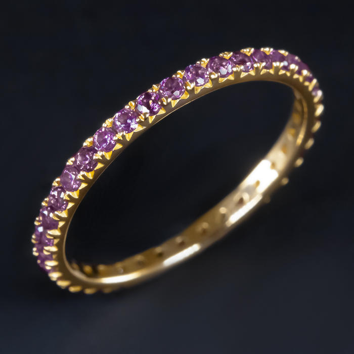 13d0dcdb4ca07 14K GOLD NATURAL AMETHYST ETERNITY RING WEDDING BAND STACKING PURPLE THIN  PAVE